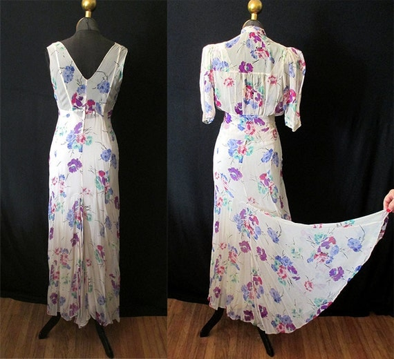 "Beautiful 1930's Bias Cut Two Piece Cream Silk Chiffon Floral Print Gown w/ Matching Jacket by ""Roy H. Bjorkman"" Old Hollywood Size-Medium"