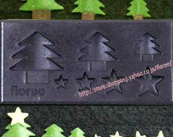 Christmas tree and star mold. Floree miniature festive Christmas mould. Good with clay for decoden.