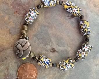 Vintage African Millefiori Trade Bead Bracelet, Millefiori Bracelet, Tribal Bracelet, Ethnic Bracelet, Millefiori Bracelet, African Bracelet