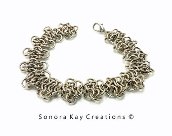 One  European 4 in 1 Floral  Chainmaille Bracelet in Silver Plated Copper  Custom Made to Order
