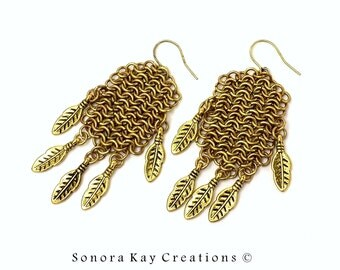 Edgy Brass European 4 in 1 Chainmaille Earrings with Feathers OOAK