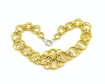 Gold Tone and Silver Plated Brass Helms Weave  Chainmaille  Bracelet OOAK