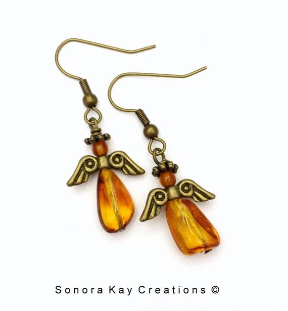 Amber Angel Earrings in  Bronze