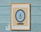 Big Ben Print, Elizabeth Tower, Print london, london poster, cityscape, Art 8x11 - London 4