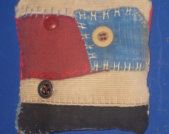 Crazy Quilt Pincushion Patchwork Quilters Gift Feather Stitched Vintage Seamstress Gift