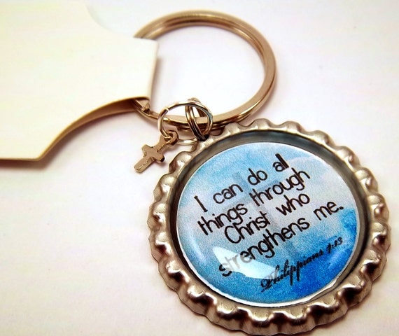 Phillippians 4:13 Inspirational Bottle Cap Keychain
