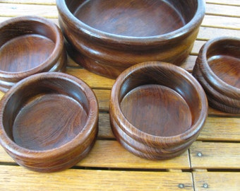 Vintage Teak - Salad Bowl Set - 5 Pieces  - Danish Modern Style