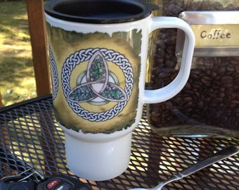 Polymer Travel Mug Faerie Trees, Oak, Ash, and Thorn Triquetra