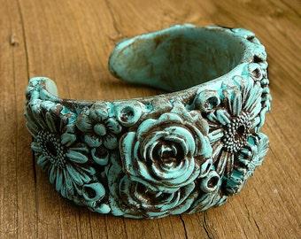 Distressed polymer clay flower cuff
