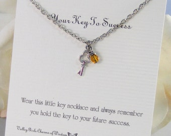 Key To Success,Necklace,Antique Necklace,Keys,Silver,Key Necklace,Key,Birthstone,Personalize,Steampunk,Antique.Jewelry by valleygirldesigns.