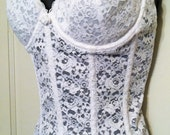 VIntage White Racey Lacey Corset