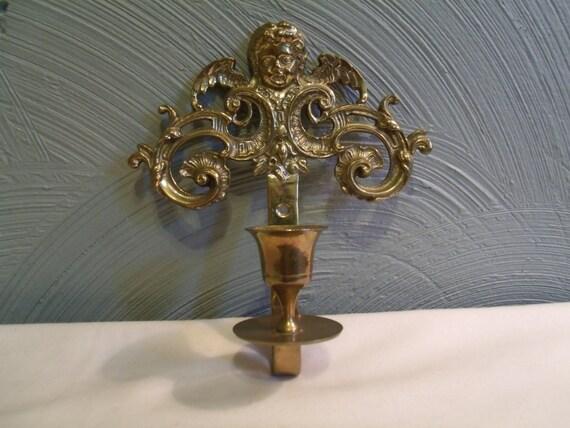 Brass Cherub Wall Sconces : Vtg Cherub Wall Sconce Brass Candle Holder by TeresasTreasuresEtc