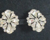 RESERVED for Kathleen Jamieson - Vintage Clip Ons - Clip On Earrings - 1950s Pin Up Style - Brides Earrings - Estate Earrings
