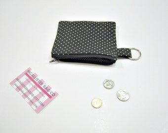 Zippered Pouch or Wallet in Black and White Polka Dots