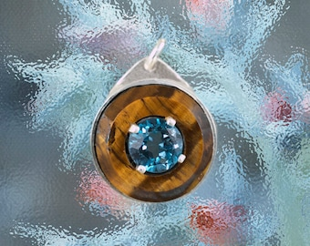 London Blue Topaz and round Golden Cats Eye
