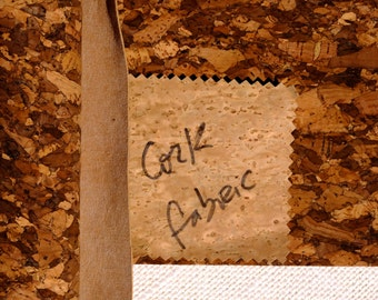 """Cork fabric, Earth friendly leather, made in Portugal, genuine cork craft supplies, 50x50cm, fat quarter 20""""x20"""", gross granulated pattern"""