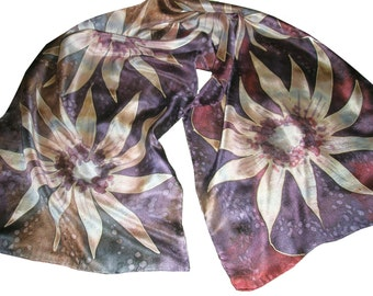 "Scarf of pure silk, hand painted. ""Four magic Flowers"" handmade original silk scarf in purple, brown, ivory, burgundy, gray"