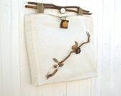 RESERVED FOR ROBIN Branch leaves handbag natural linen canvas bag