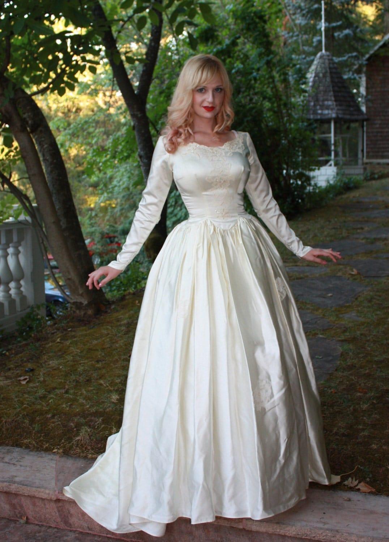 Vintage 1950s Silk Satin Wedding Dress Princess by