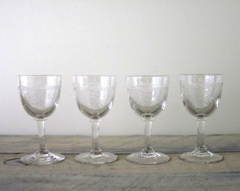 Vintage Etched Cordial Glasses Set of Four