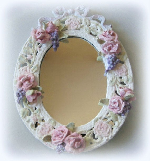 Wall Mirror Framed Mirror White Mirror Flower Mirror Shabby Chic Mirror Decorative Mirror Vanity Mirror Small Mirror Floral Ornate Oval