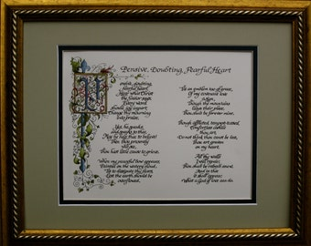 custom calligraphy, calligraphy, Made to Order, Old World, Gold, Red, Blue, Gift for Him