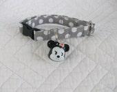 Cat Collar Polka Dot with Girl Mouse  Bell   Breakaway Collar Custom Made