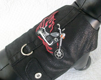 Motorcyle Faux Leather Dog Harness Vest Custom Made