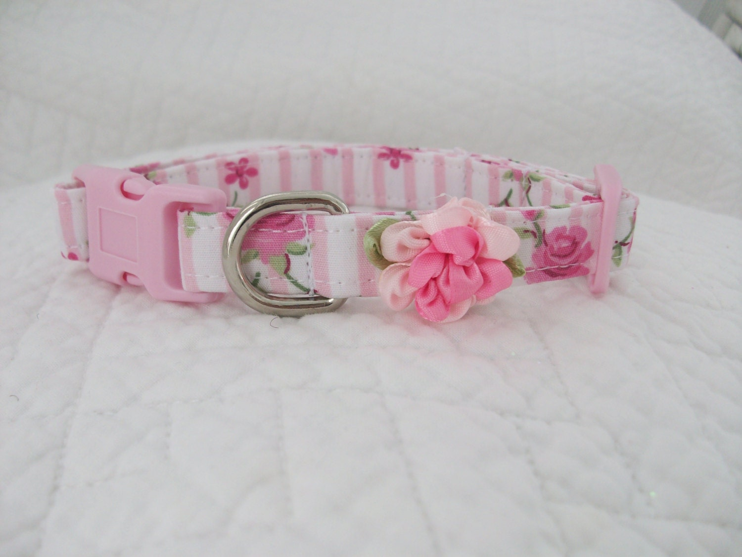 Shabby chic pink roses dog collar for Shabby chic dog