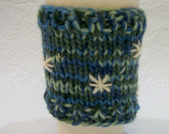 Knit Coffee Cup Cozy, Knit Coffee Cup Sleeve, Hot Drink Cozy, Merino Wool Coffee Sleeve, Knit Sleeve Blues and Greens