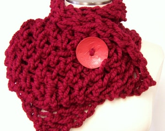 Chunky Knit Button Scarf in Red,   Button Scarf Cranberry Red, Chunky Knit Short Scarf With Button, Fall Trends, Big Knit Scarf Button
