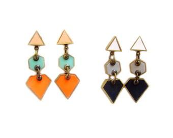 Geometric  Statement Earrings, Neon Diamond Triangle Hexagon Post Dangle Earrings