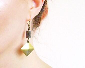 Geometric Earrings, Minimalist Gemstone Statement Earrings, Square Earrings, Pyrite Dangles,  Moon Landscapes