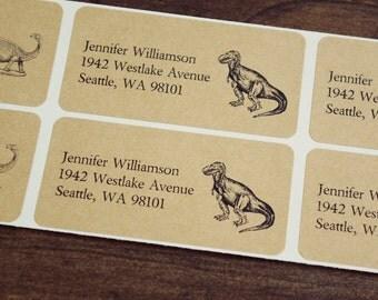 Custom Return Address Labels - DINOSAURS Set, Dinosaur Address Labels, T-Rex, Tyrannosaurus Rex, Pterodactyl, Gifts for Men