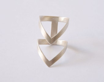 handmade sterling silver chevron ring statement ring,double V silver ring silver geometry ring architectural ring silver minimalist ring
