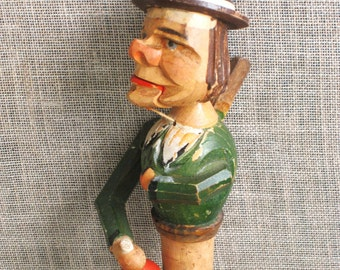 Vintage Hand Carved Bottle Stopper, Anri, Folk Art, Male Bust Portrait, Male Figure, Handmade, Carvings, Carved, Barware