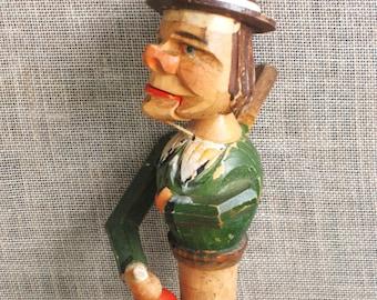 Bottle Stopper , Anri , Male Portrait , Male Figure , Handmade , Carvings , Folk Art , Hand Carved , Folk Art Stopper , Carved , Barware
