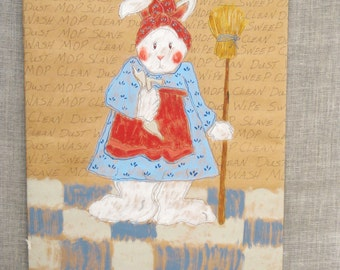 Drawing , Rabbit , Art , Whimsical , Rabbit Drawing , Humorous , Domestic , Original , Gouache , Chores , Female Rabbit , White Rabbit