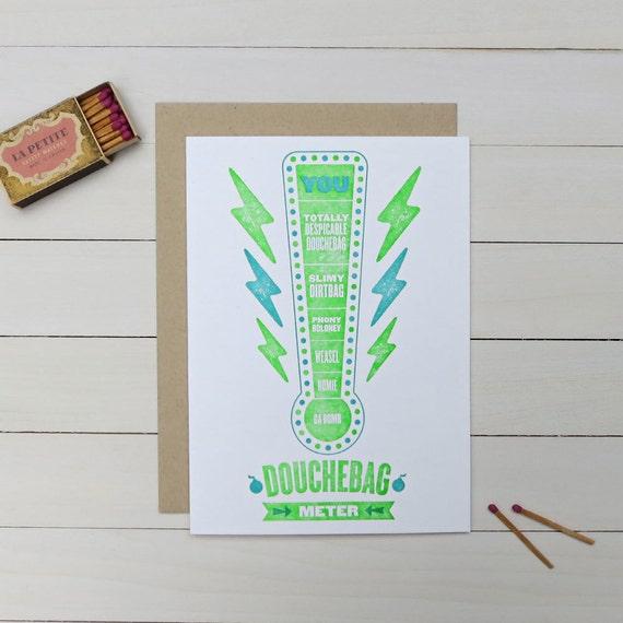 douchebag meter letterpress card