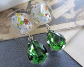 Swarovski Emerald green crystal earrings with vintage confetti beads and stering silver