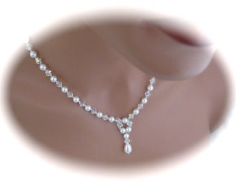 Pearl Wedding Necklace Bridal Jewelry Pearl and Crystal Necklace Pendant Necklace