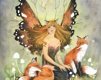 Fairy Art Original Watercolor Painting - With Foxes - fantasy. woodland animal. whimsical. fairy tale. fox. wild animal. nature.