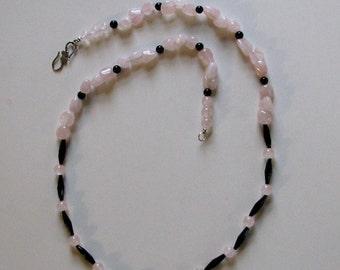 Rose quartz and vintage glass necklace