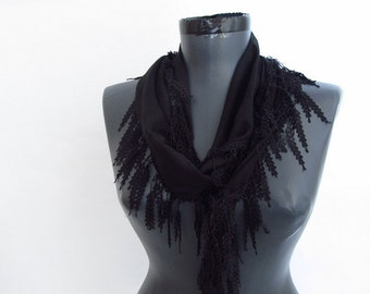 Black scarves - Fringed Guipure Scarf -Fabric Knitted Lace Scarf - Shawl Scarf - Cowl Scarf - Long Scarf -Valentines day gift