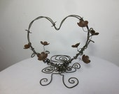 Rustic Barbed Wire Heart  With Rusty Blossoms Wedding Cake Topper
