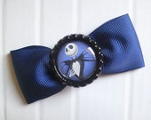 Nightmare Before Christmas Jack Skellington Inspired Navy Blue Hairbow