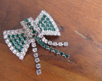 Vintage Green and Clear Rhinestone Bow Brooch Pin with Dangles, Silvertone, 1940's 3D Glam