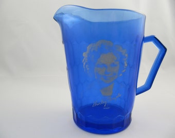 Vintage Shirley Temple Cobalt Blue Promotional Pitcher 1930's Captain January
