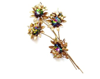 Vintage Hobe Flower Spray Pin with Watermelon Rhinestones Antiqued Gold Tone 4.75 Inches c. 1960s