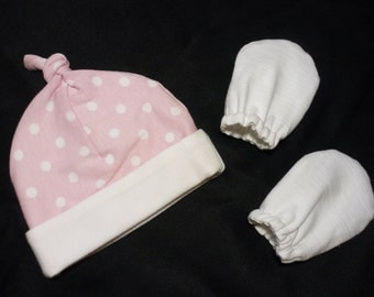Newborn Hat and Mittens - Pink and White Polka Dot Hat with White Mittens - Ready to Ship